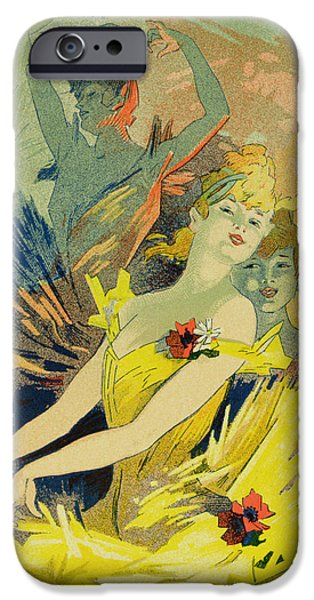 Ballet Drawings iPhone Cases - Back-Stage at the Opera iPhone Case by Jules Cheret