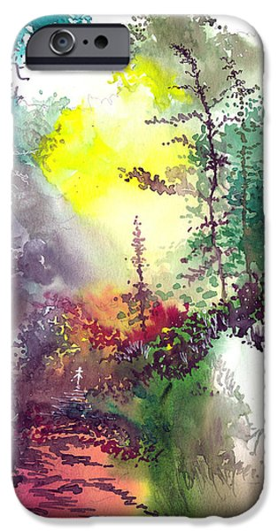 Nature Abstract Drawings iPhone Cases - Back to Jungle iPhone Case by Anil Nene