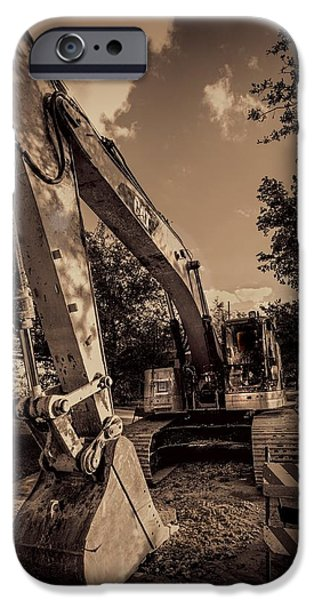 Backhoe iPhone Cases - Backhoe-2 iPhone Case by Rudy Umans