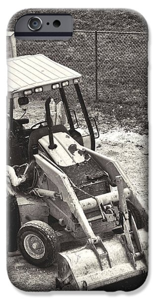 Backhoe iPhone Cases - Backhoe BW iPhone Case by Rudy Umans