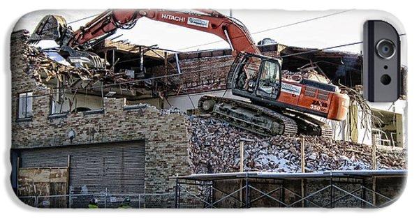 Backhoe iPhone Cases - Backhoe Demolition iPhone Case by Daniel Hagerman
