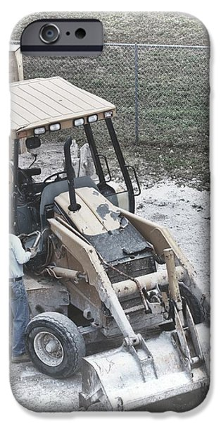 Backhoe iPhone Cases - Backhoe  iPhone Case by Rudy Umans