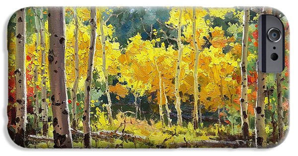 Tree Art Print iPhone Cases - Backlit Aspen Grove  iPhone Case by Gary Kim