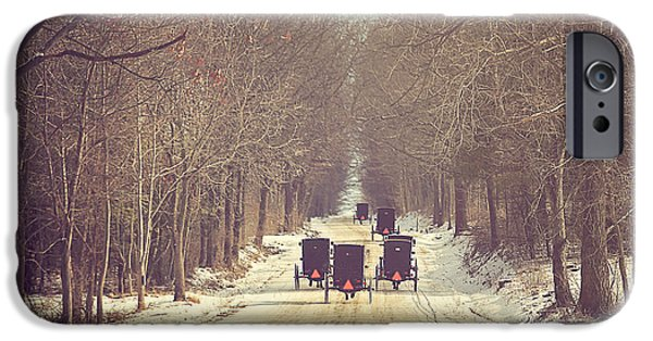 Winter Trees Photographs iPhone Cases - Backroad Buggies iPhone Case by Carrie Ann Grippo-Pike