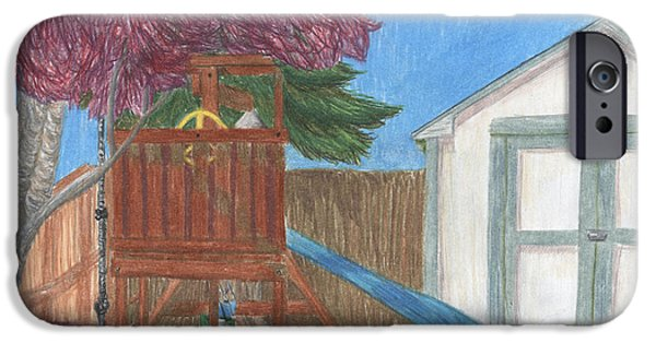 Shed Drawings iPhone Cases - Backyard iPhone Case by Elaine Goicea