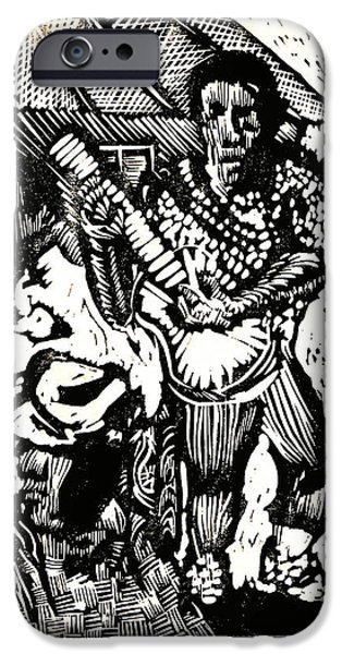 Lino Drawings iPhone Cases - Backyard Music iPhone Case by Seth Weaver