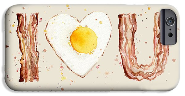 Breakfast iPhone Cases - Bacon and Egg I Heart You Watercolor iPhone Case by Olga Shvartsur