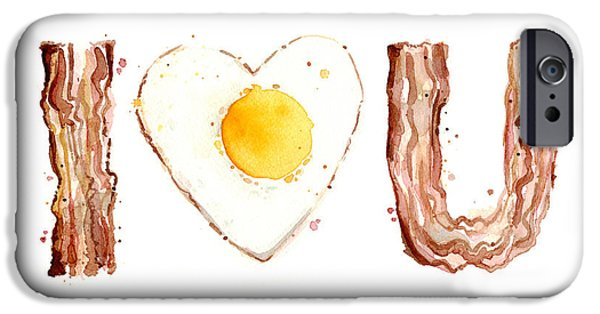 Watercolor! Art iPhone Cases - Bacon and Egg LOVE iPhone Case by Olga Shvartsur