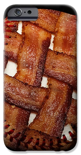 Bacon Weave Baseball Square iPhone Case by Andee Design