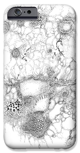 Biological Drawings iPhone Cases - Bacteriophage Ballet iPhone Case by Regina Valluzzi