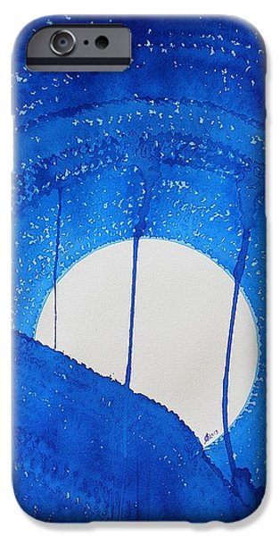 Printmaking iPhone Cases - Bad Moon Rising original painting iPhone Case by Sol Luckman