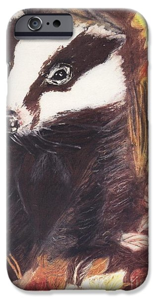 Fauna Pastels iPhone Cases - Badger in the fall. iPhone Case by Ann Fellows