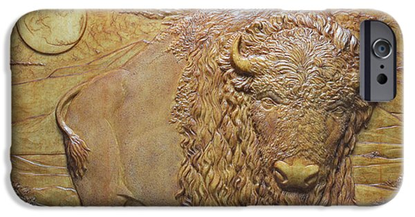 Bas Relief Reliefs iPhone Cases - Badlands Bull iPhone Case by Jeremiah Welsh
