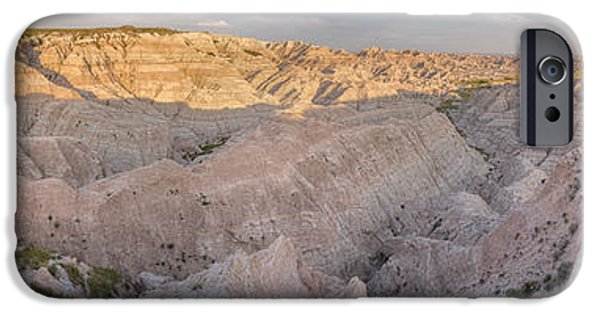Red Rock iPhone Cases - Badlands National Park Color Panoramic iPhone Case by Adam Romanowicz