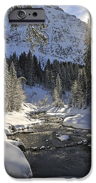 Winter Mornings iPhone Cases - Baergunt valley Kleinwalsertal Austria in winter iPhone Case by Matthias Hauser