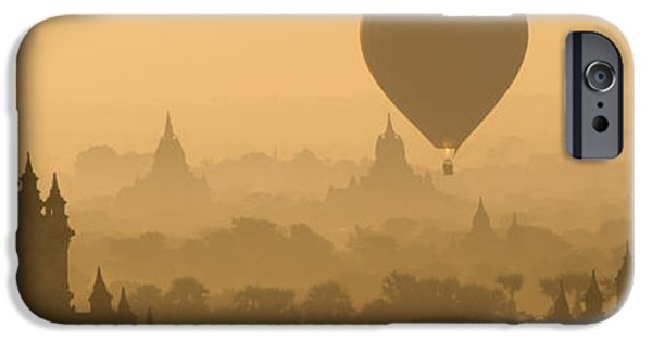 Hot Air Balloon iPhone Cases - Bagan Sunrise 6 iPhone Case by BJ Graf