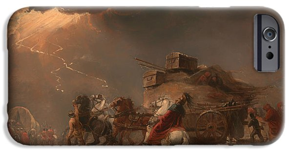 Army Men iPhone Cases - Baggage Wagons in a Thunderstorm iPhone Case by Luke Clennell