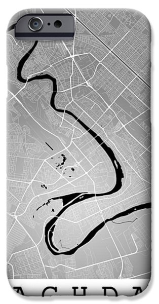 Baghdad Digital Art iPhone Cases - Baghdad Street Map - Baghdad Iraq Road Map Art on Color iPhone Case by Jurq Studio