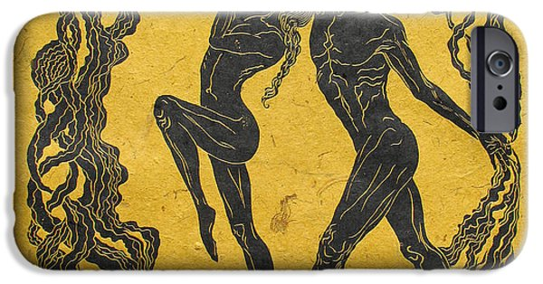 Human Figure Reliefs iPhone Cases - Baile del Sol iPhone Case by Maria Arango
