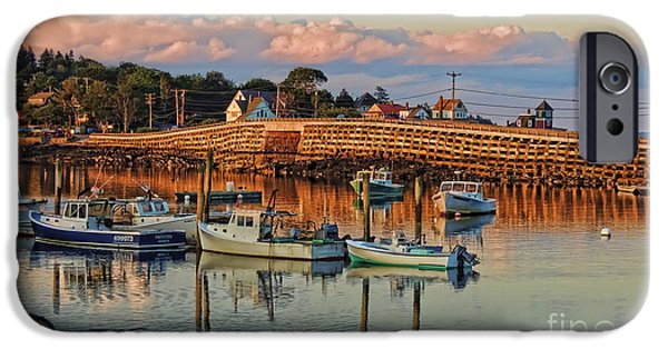 Bailey Island iPhone Cases - Bailey Island Bridge at Sunset iPhone Case by Patrick Fennell