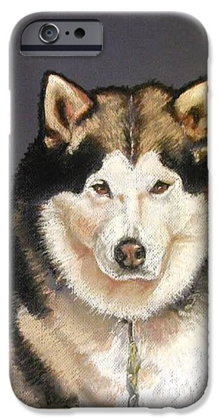 Huskies Pastels iPhone Cases - Bailey the Malamute iPhone Case by Lenore Gaudet