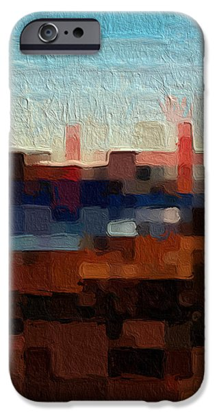 Abstracted Mixed Media iPhone Cases - Baker Beach iPhone Case by Linda Woods