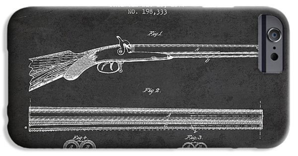 Weapon iPhone Cases - Baker Gun Barrel Patent Drawing from 1877- Dark iPhone Case by Aged Pixel