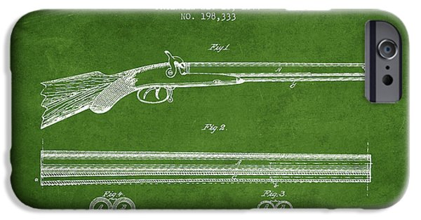 Weapon iPhone Cases - Baker Gun Barrel Patent Drawing from 1877- Green iPhone Case by Aged Pixel