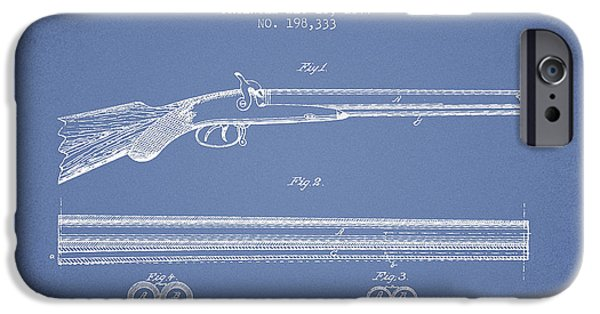 Weapon iPhone Cases - Baker Gun Barrel Patent Drawing from 1877- Light Blue iPhone Case by Aged Pixel