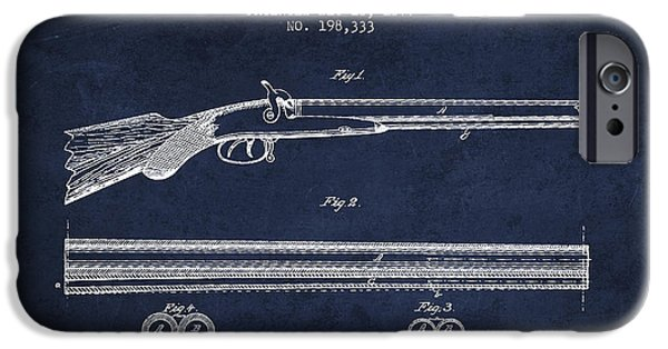Weapon iPhone Cases - Baker Gun Barrel Patent Drawing from 1877- Navy Blue iPhone Case by Aged Pixel