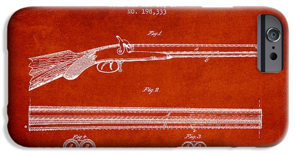 Weapon iPhone Cases - Baker Gun Barrel Patent Drawing from 1877- Red iPhone Case by Aged Pixel
