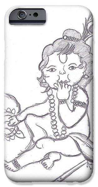 Clarify iPhone Cases - Bal Gopal eatting butter iPhone Case by Melissa Vijay Bharwani
