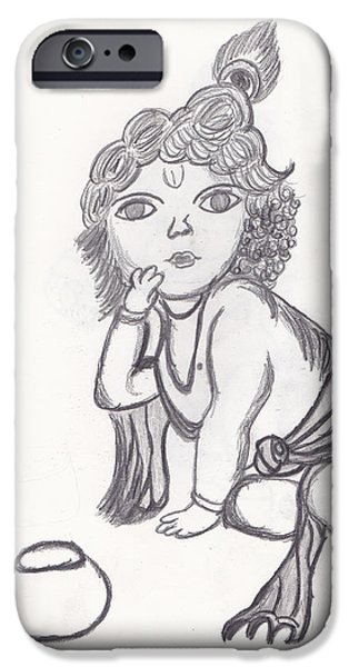Religious Drawings iPhone Cases - Bal Gopal Sketch iPhone Case by Melissa Vijay Bharwani
