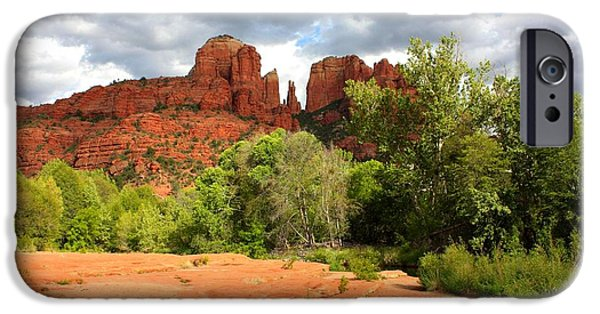Sedona iPhone Cases - Balance at Cathedral Rock iPhone Case by Carol Groenen