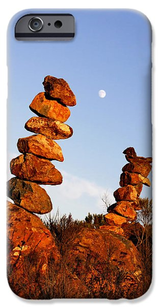 Piles iPhone Cases - Balanced Rock Piles iPhone Case by Christine Till
