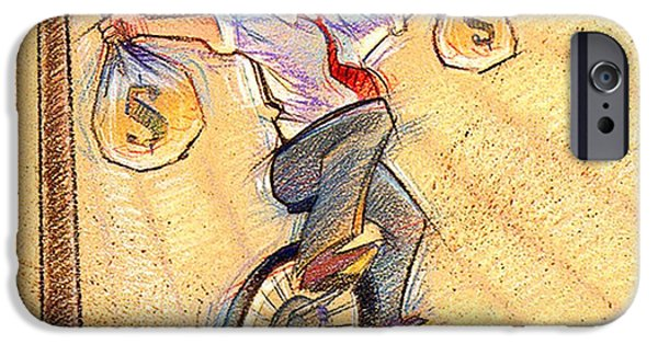 Finance Drawings iPhone Cases - Balancing act iPhone Case by John  Foster