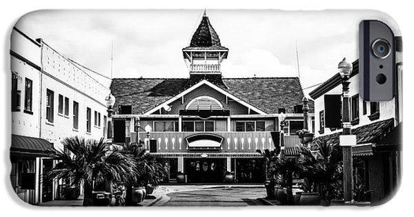 Orange County iPhone Cases - Balboa California Main Street Black and White Picture iPhone Case by Paul Velgos