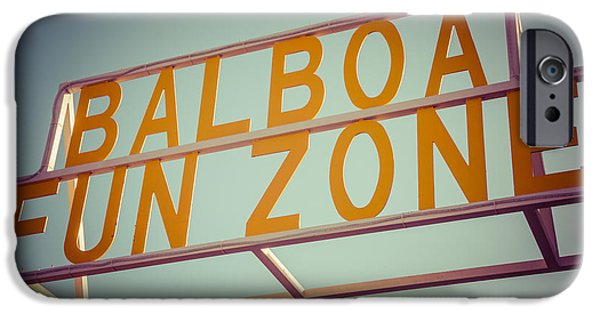 Pastel iPhone Cases - Balboa Fun Zone Sign Newport Beach Vintage Photo iPhone Case by Paul Velgos