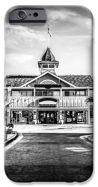 Balboa Pavilion Newport Beach Black and White Picture iPhone Case by Paul Velgos
