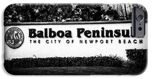 Municipal iPhone Cases - Balboa Peninsula Sign for City of Newport Beach California iPhone Case by Paul Velgos