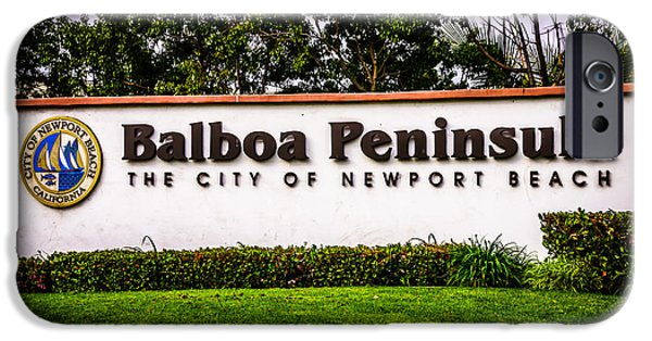 Municipal iPhone Cases - Balboa Peninsula Sign for City of Newport Beach Picture iPhone Case by Paul Velgos