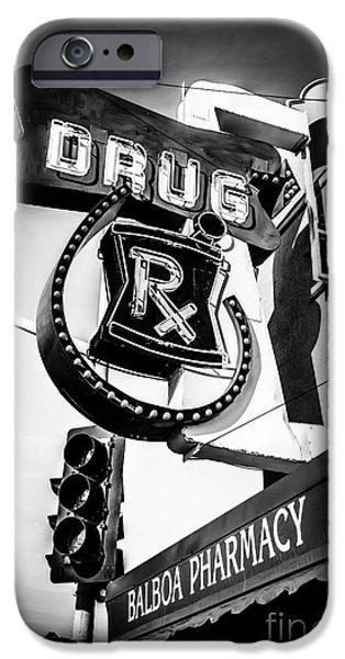 Pharmacy iPhone Cases - Balboa Pharmacy Drug Store Orange County Photo iPhone Case by Paul Velgos