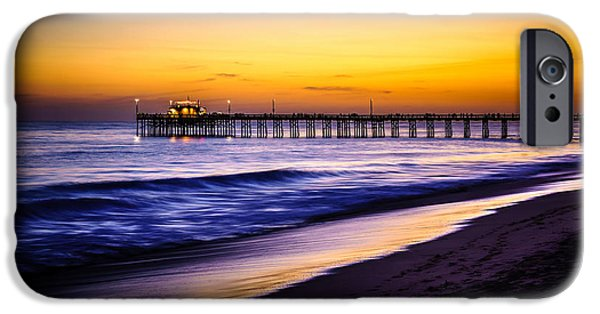 Seascape Photography iPhone Cases - Balboa Pier at Sunset in Newport Beach California iPhone Case by Paul Velgos