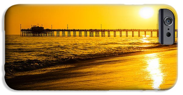 Seascape Photography iPhone Cases - Balboa Pier Sunset in Orange County California Picture iPhone Case by Paul Velgos