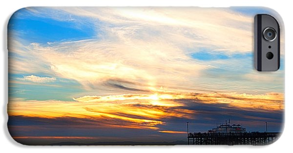 Ocean Sunset iPhone Cases - Balboa Pier Sunset Landscape HDR iPhone Case by Chris Brannen