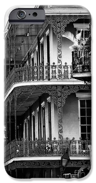 Balcony iPhone Cases - Balconies in Nawlins iPhone Case by John Rizzuto