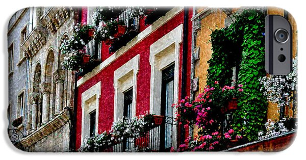 Balcony Digital Art iPhone Cases - Balconies of Leon - Digital Painting iPhone Case by Mary Machare