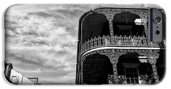 Balcony iPhone Cases - Balcony in New Orleans mono iPhone Case by John Rizzuto