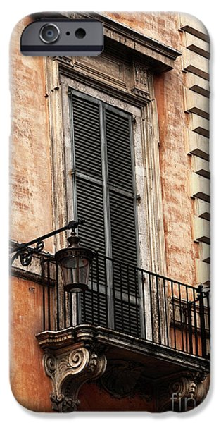 Balcony iPhone Cases - Balcony in Rome iPhone Case by John Rizzuto