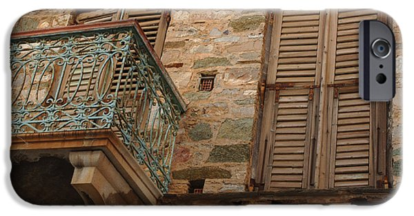 Balcony iPhone Cases - Balcony in Syros Greece iPhone Case by Bob Christopher
